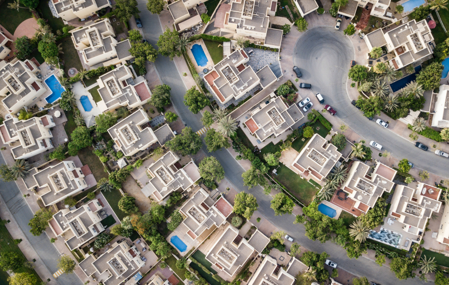 Birds eye view of suburban residential homes