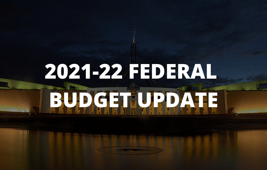 2021-22 Federal Budget Update text overlays Parliament House